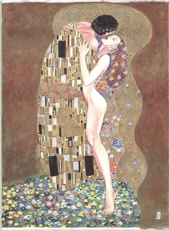 "Homage to Gustav Klimt's ""The Kiss"" by Milo Manara"