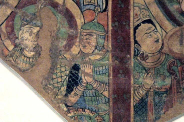 Wall painting of Warriors from Tumshuk (near Turfan), Tarim Basin