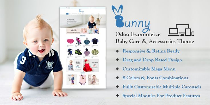 Bunny Baby Care & Accessories #Theme for #odoo v9 Ecommerce