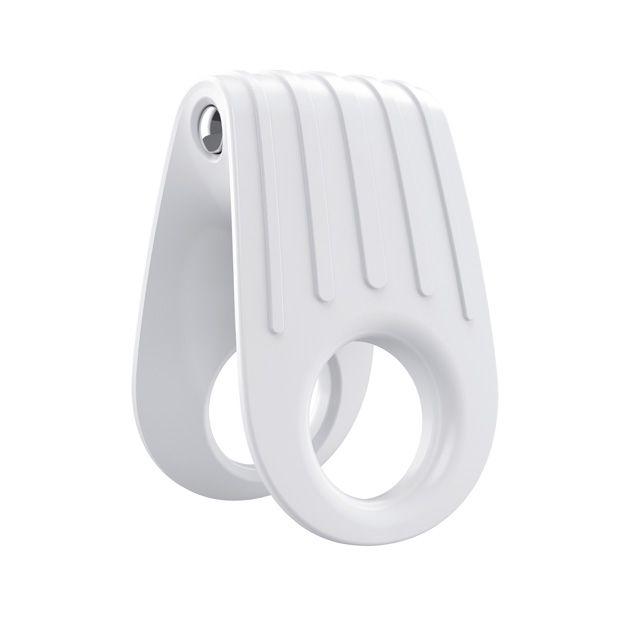 Ring, plastic, white, chrome