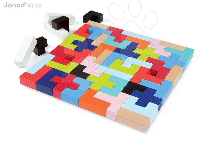 JANOD 08063 dřevěné kostky stavebnice Kubix - 50 Geometri