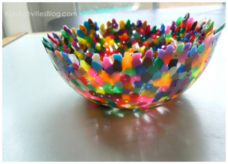 To make a melted bead bowl,   preheat oven to 350 degrees. Spray oven proof bowl with cooking spray. Sprinkle beads on the bottom of the bowl and move them around to make sure there is a single layer. Add more and more beads until they creep up the sides as far as you would like them to go. Bake in oven about 15 minutes or until the beads along the top have clearly melted themselves out of shape. Allow to cool and pop out the melty bead bowl.  Wash with soap.