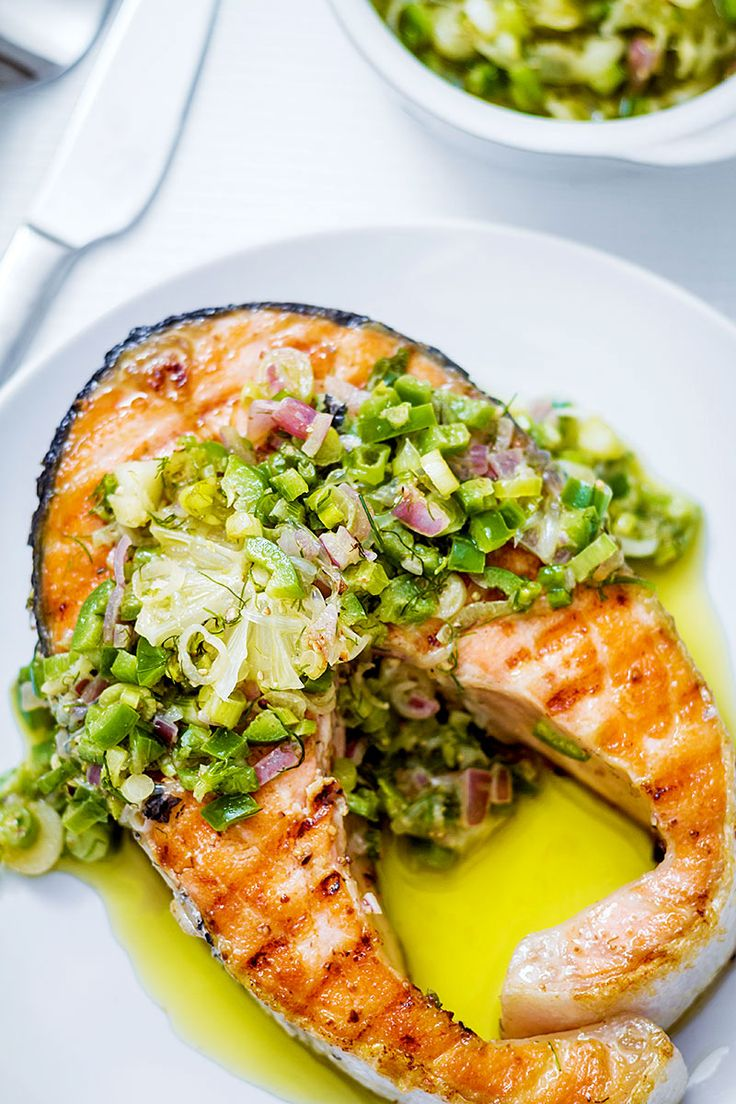 Grilled Salmon Steaks with Citrusy Jalapeño Salsa