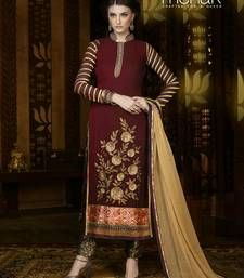 Buy Maroon georgette indo semi stitched suit anarkali-salwar-kameez online