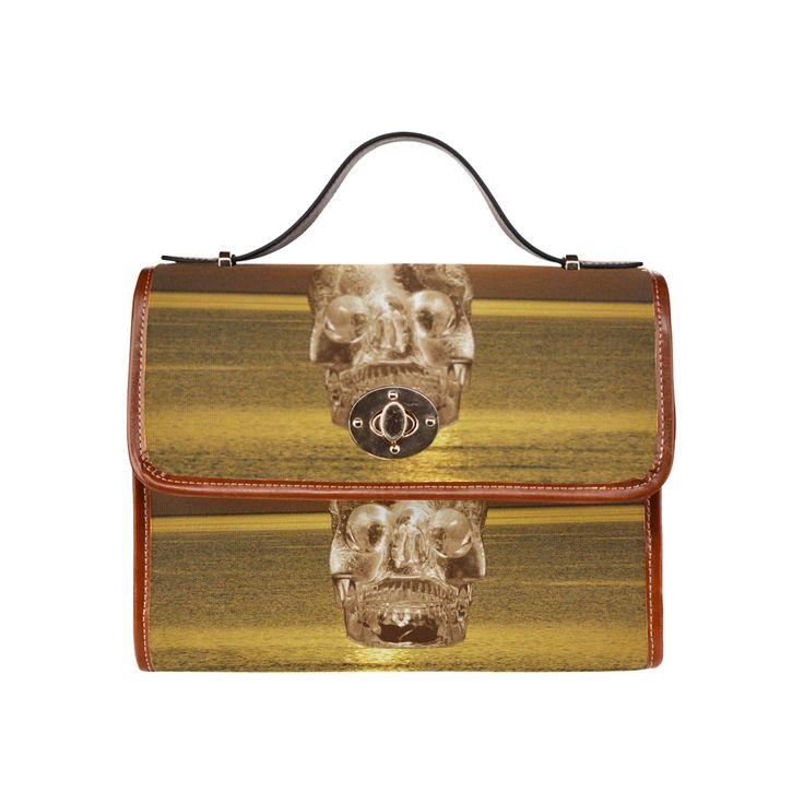 Crystal Skull Gold Waterproof Canvas Bag/All Over Print (Model 1641)