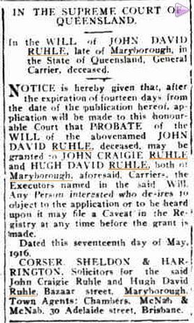 1916: Probate of Will of John David Ruhle
