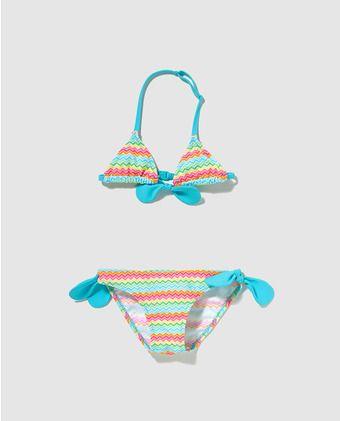 Bikini de niña B con B con estampado de zig zag multicolor