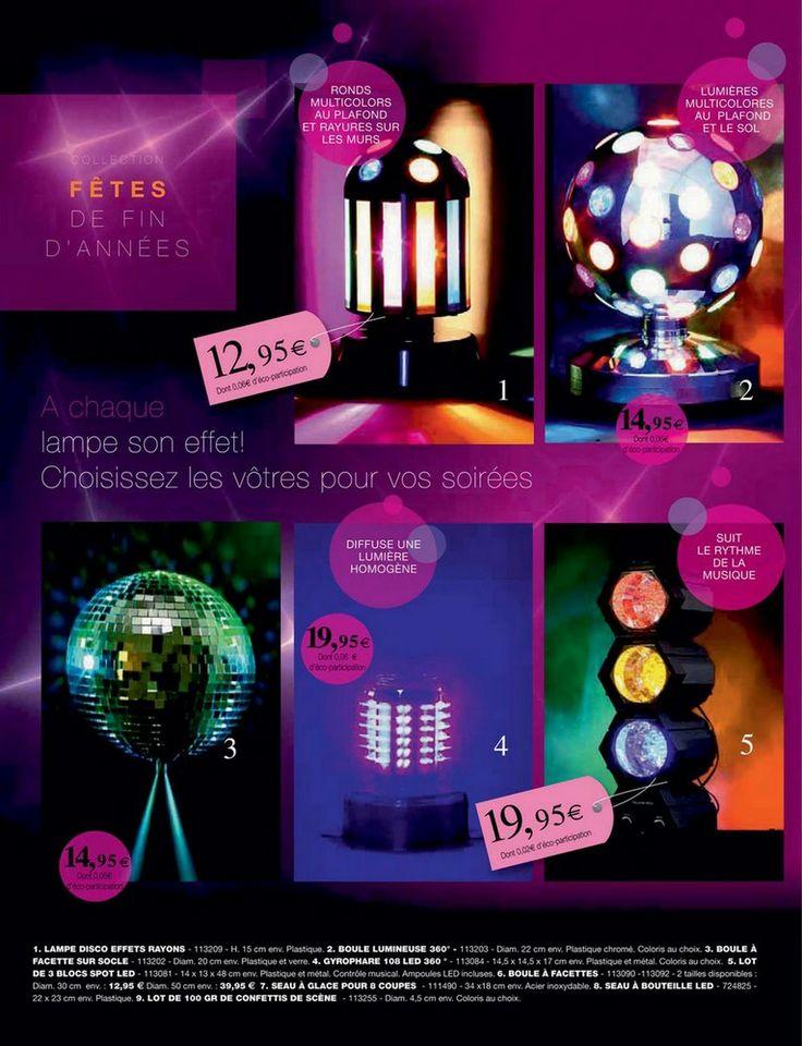 Catalogue Décembre 2013, cadeaux. JJA, créateur de tendance. Lampe disco, boule à facettes, seau bouteille led, gyrophare, lampe disco, confettis. www.gemeco.fr