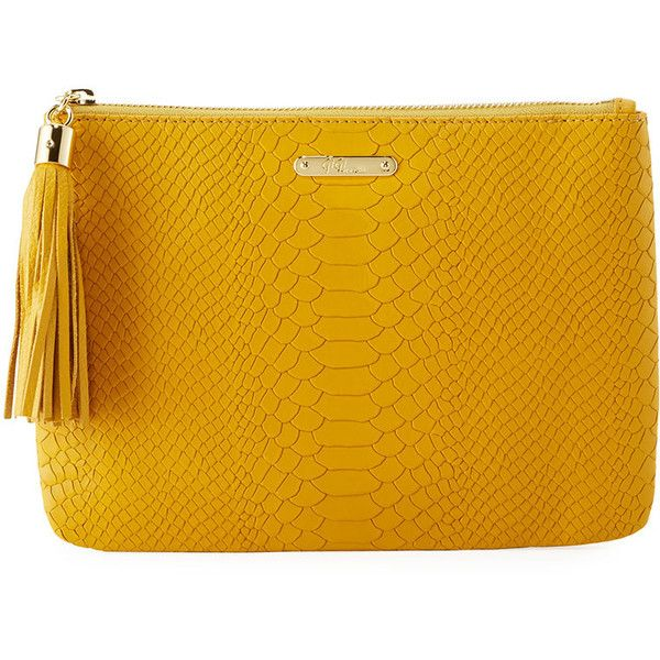 Gigi New York All-In-One Snake-Embossed Clutch Bag (€52) ❤ liked on Polyvore featuring bags, handbags, clutches, yellow, tassel clutches, leather tassel handbags, gigi new york, leather purses and yellow leather purse