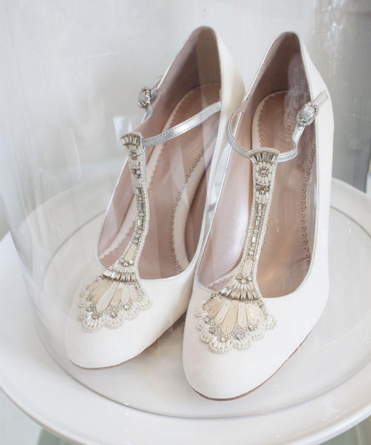 Emmy London Eva Bridal Shoes With T Bar Embellished Strap Art Deco Inspired Design
