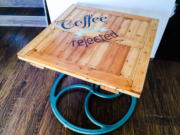 Hand painted Coffee lover's table - recycled/upcycled from stable door and fount wheel.Mint colour stand. by ViktoryFactory on Etsy https://www.etsy.com/listing/220648044/hand-painted-coffee-lovers-table