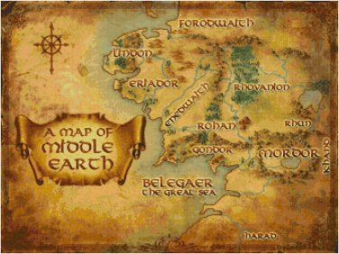 HOBBIT/LORD OF THE RINGS MAP OF MIDDLE EARTH #2 CROSS STITCH PATTERN PDF ONLY