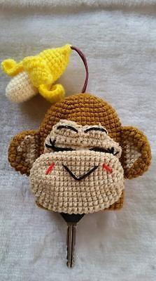 Key Chain ,Key Ring ,Monkey and Banana cute, Key Cover cap ,Handmade Crochet                                                                                                                                                                                 More