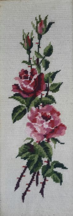 Pink roses on ecru background vintage hand stitched needlepoint tapestry