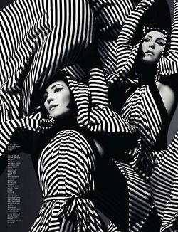 1960's vintage / retro monochrome striped fashion editorial - black and white photography