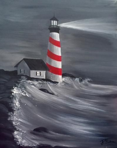 Paint Nite Pittsburgh | Lighthouse at Nighttime at Papa Rocks Pizza Pub 05/11/2015