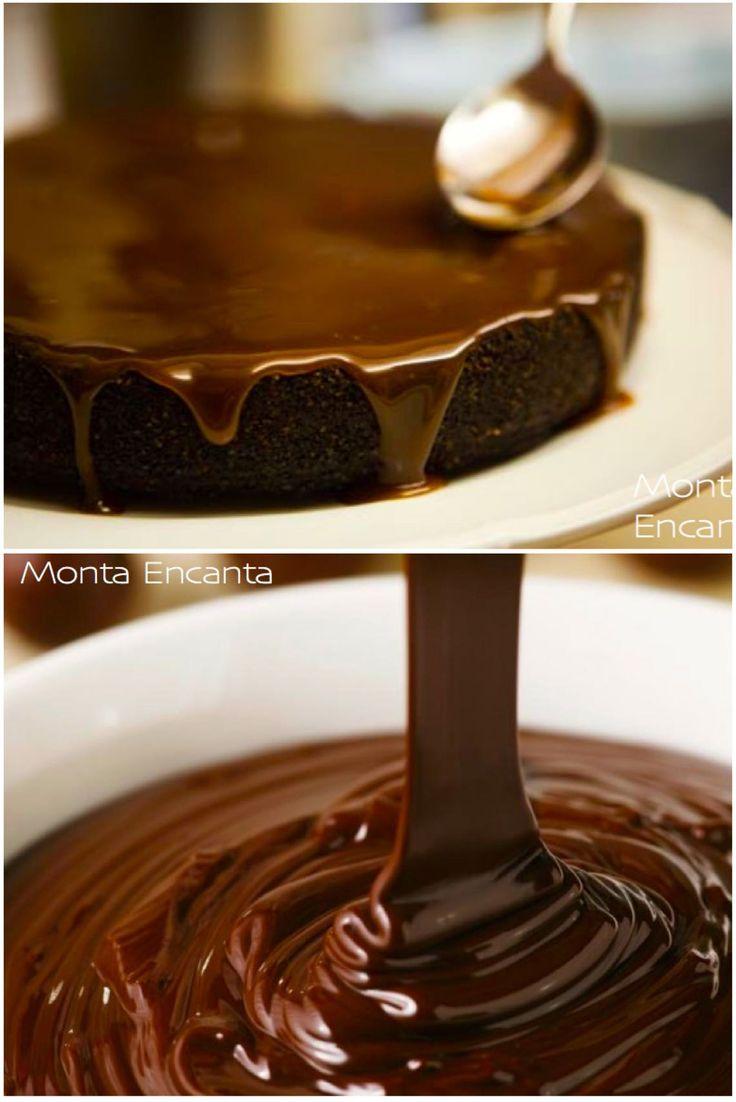 Ganache de Chocolate, chocolate derretido com creme de leite e karo, cobertura de bolo
