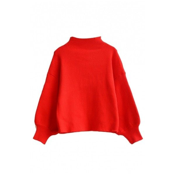 High Neck Balloon Sleeve Batwing Red Cropped Sweater (1.705 RUB) ❤ liked on Polyvore featuring tops, sweaters, high neck top, red crop top, red cropped sweater, batwing top and red top