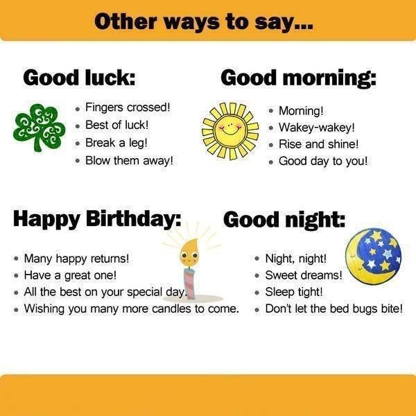 Other ways to say 'Happy birthday', 'good luck', 'good morning' and 'good night' in English