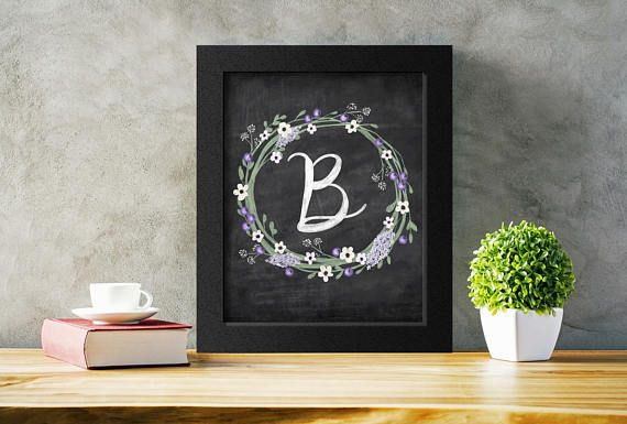 Printable Letter B Initial Monogram Print.  This floral wreath against a chalkboard background is a lovely touch for any bedroom decor.  Available in several sizes to suit any space! #monogram #printableletter #bedroomart