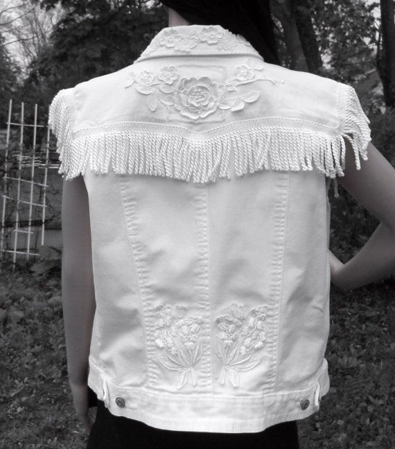 White Denim Vest / Vintage Wedding Dress   by TrudyClaireDesigns