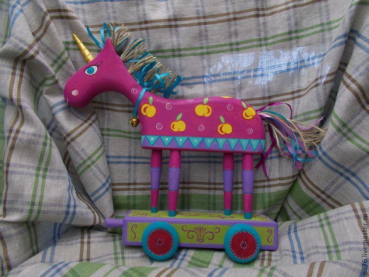 Купить Розовый единорог. - разноцветный, единорог, единорожек, скульптура, роспись, интерьерная игрушка, дерево