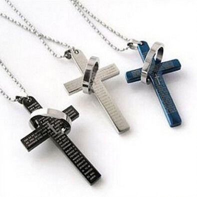 11 best jewelry with meaning images on pinterest cross necklaces new 3 colors stainless steel necklaces menbrand prayer cross men pendant necklaces fashion jewerly aloadofball Gallery