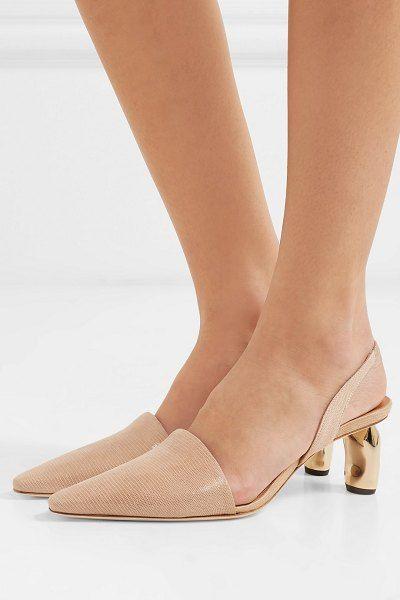 c425dd18d6a Rejina Pyo conie lizard-effect leather slingback pumps.  rejinapyo   nudeshoes  pumps  heels