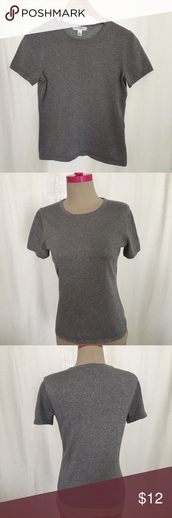 Silver metallic tee Sparkly t-shirt sweater,  great condition! Isaac Mizrahi Tops Tees - Short Sleeve