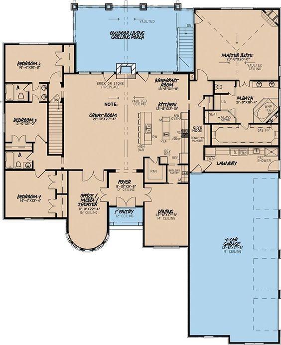 Nice European Style House Plan   4 Beds 3.5 Baths 3713 Sq/Ft Plan #923