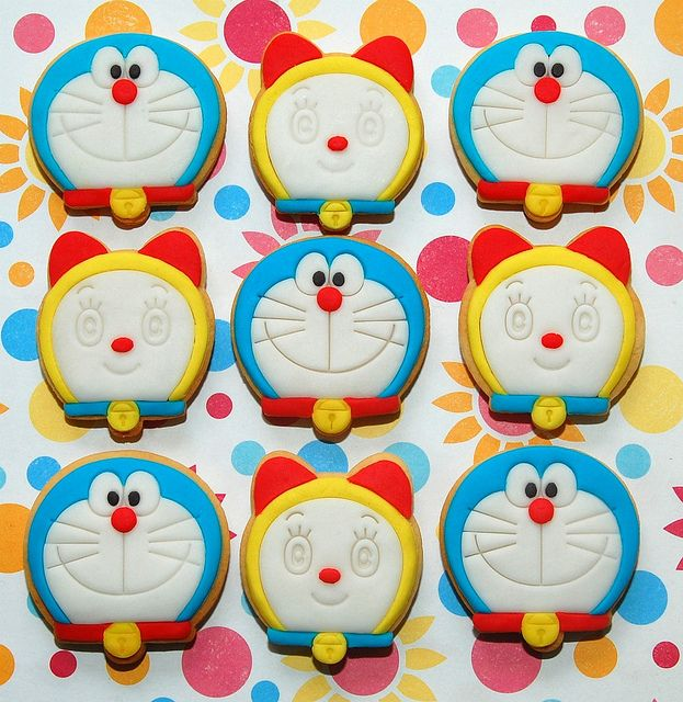 Doraemon & Dorami Cookies by kookielicious, via Flickr