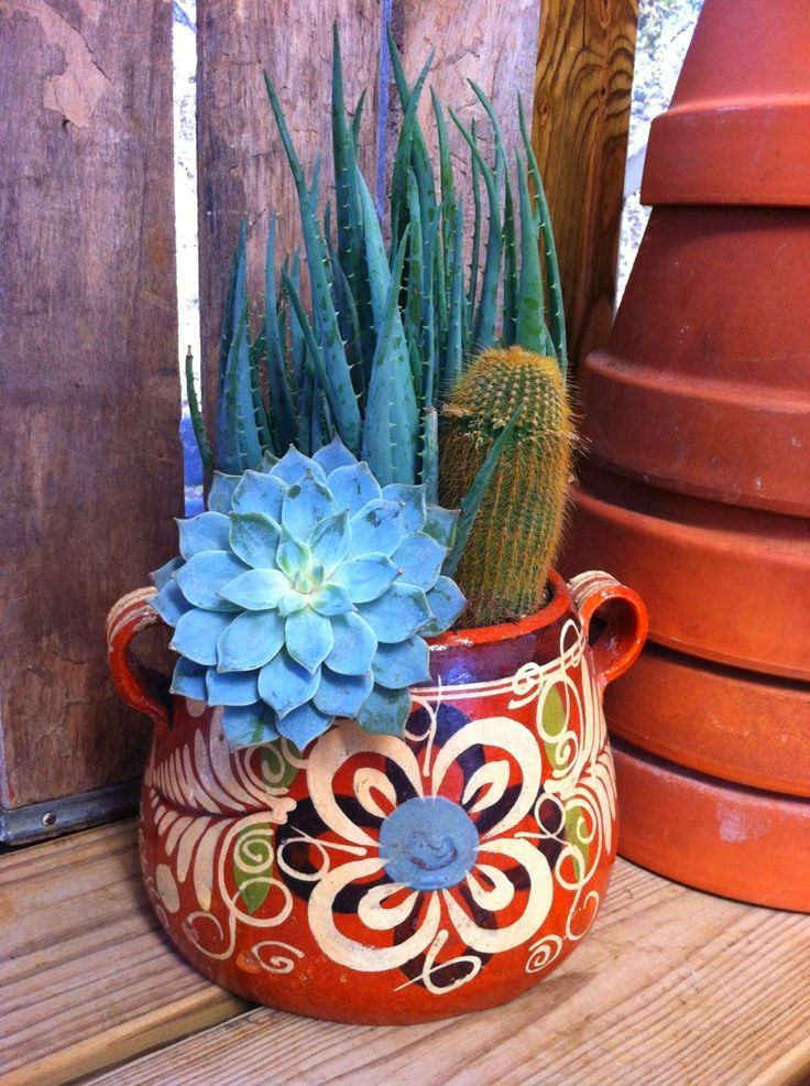 Love the colors.... great idea for my old bean pot~ and keep in in the kitchen... can replant herbs in it!!
