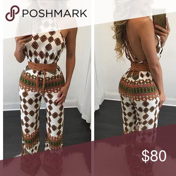 Festival Jumpsuit Open Back Size Large Never worn Tags still on festival jumpsuit. Does not stretch. Wide legs. Belt not included. It is too big on me and I cannot return anymore. DISCLAMIER: (This is not from fashion nova but a similar boutique) Fashion Nova Pants Jumpsuits & Rompers
