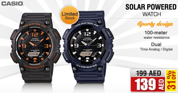 Take 31% OFF on Casio Tough Solar Watch For Men (AQ-S810W) @ AED 139/- only per 1 pcs. Shop NOW ➜ is.gd/DBsXG4