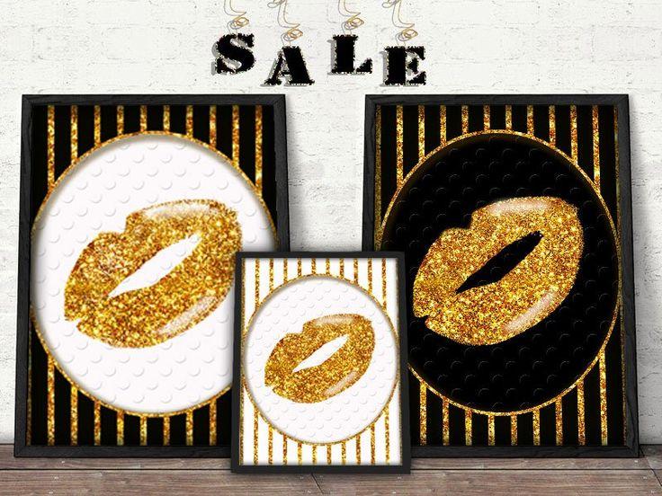 Gold, black and white Lip Print Faux Gold Foil
