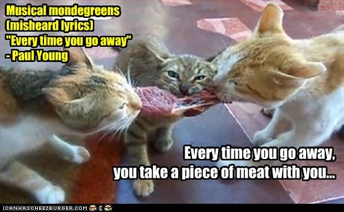 Every time you go away, you take a piece of meat with you... a la kittens.