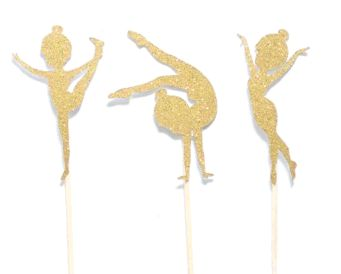 These gymnast cupcake toppers are a cute way to add pizzazz to your gymnastics party!