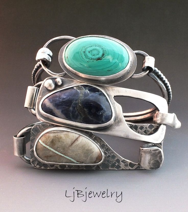 Sterling Silver bracelets by LjBjewelry, Royston Ribbon Turquoise, Sodalite, Malachite