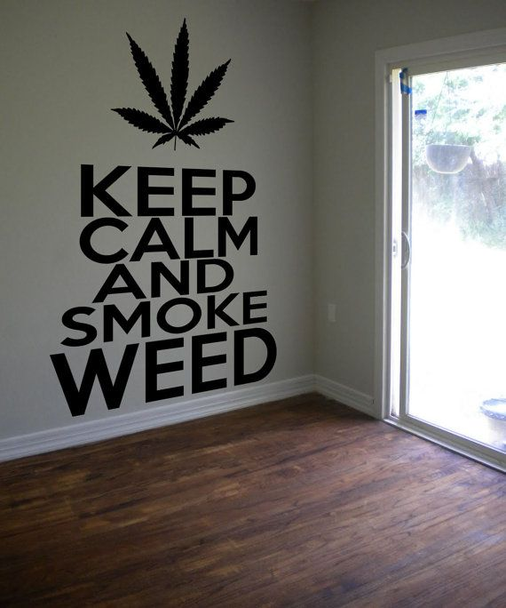 Keep Calm Smoke Weed Cannabis Pot Sticker Decal Wall Decor Mural Weed Sticker 420 Decal Bong Hippy Stoner Decal Wall Art Removable 12in/30cm...