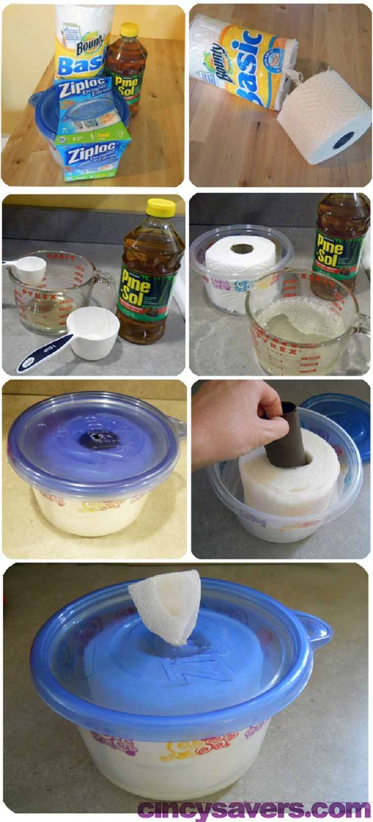 DIY Disinfecting Wipes: Disinfectant Cleaning Recipe (this is the one I used):  1/4 – 1/2 cup of pine cleaning solution such as Pine Sol 2 1/2 – 2 3/4 cup of water