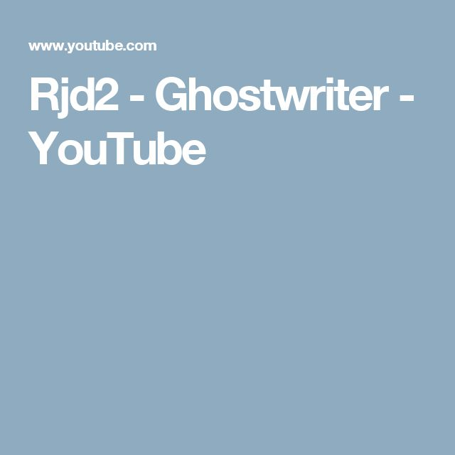 Rjd2 - Ghostwriter - YouTube