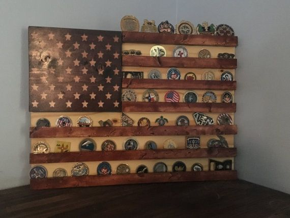 Stained wood American flag Military challenge coin display rack (shelf)