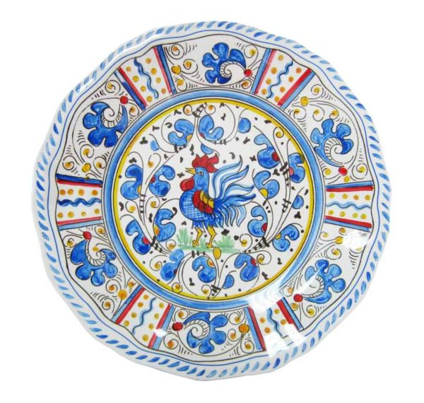 Italian Indoor/Outdoor Dinnerware - Rooster Blue