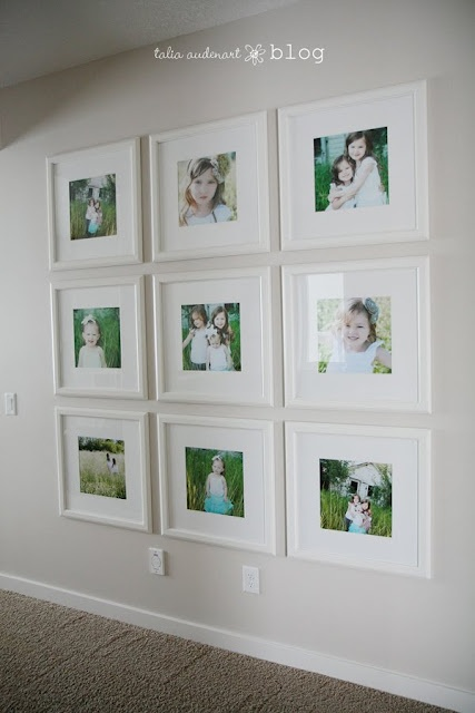 photo wall~ Love how it goes down to about 6 inches above the floor and from ceiling.