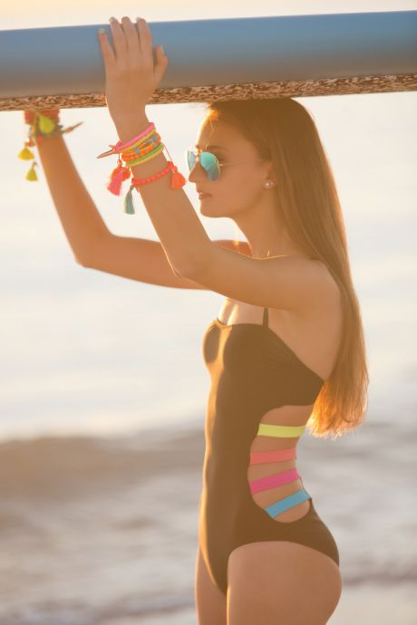 love this colourful cut out one piece