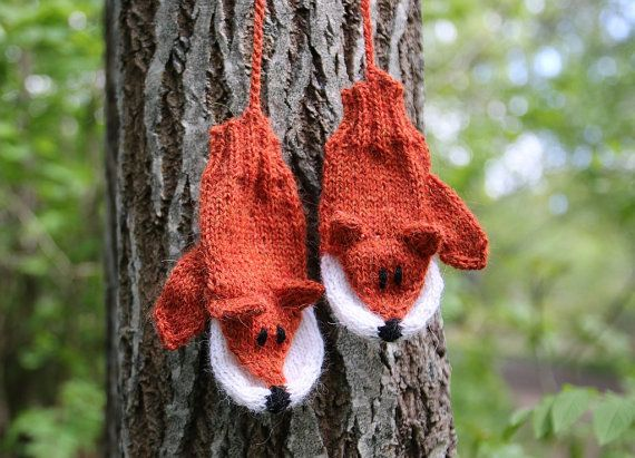 Fox Mittens for kids and adults knitting pattern PDF download