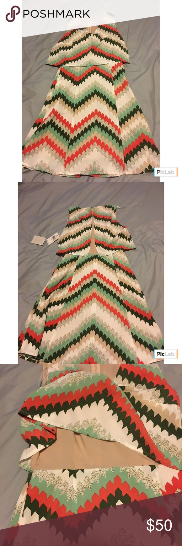 1.State Chevron Dress, size XXS, NWT 1.State Chevron Dress, size XXS, NWT. White base with orange, green and tan Chevron print. Flowy top and back over nude underneath. Zips up the back. 1. State Dresses