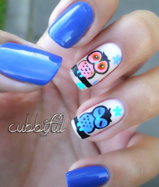 cubbiful: Owl #nail #nails #nailart