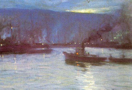 Puerto de Valparaiso, Nocturne  -  Camilo Mori Serrano  Chilian 1896-1973