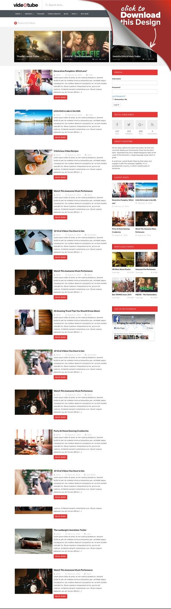 VideoTube - A Responsive Video WordPress Theme clip theme, Media Theme, page builder, theme video, tube, video, video blog, video clip, video magazine, video news, video portal, video theme, videotube, vimeo, youtube VideoTube – version 3.0.6 is out now. [New] How to import videos from Youtube/Vimeo? Have you ever wanted to collect and share your favorite videos online? Interested in uploading your own work to broadcast across the web? Videotub...